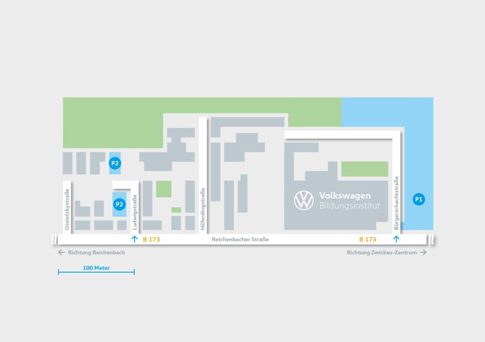 Volkswagen Bildungsinstitut: Standorte: Zwickau / Parkmöglichkeiten